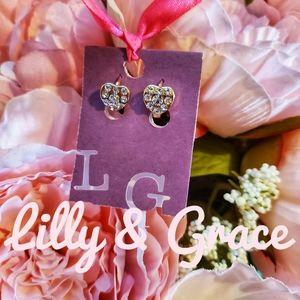 Lilly & Grace crystal emb. latch back hearts